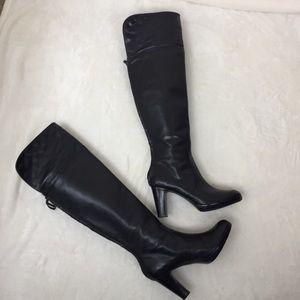 Black Leather Boots Tall  Lauren Ralph Lauren 7.5